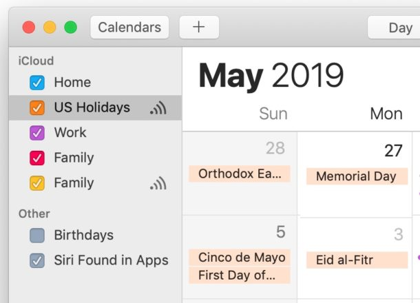 How to hide holidays from the calendar on Mac
