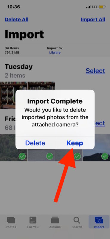 Choose to save or delete photos from the SD card.