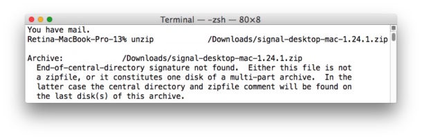 How to fix a Zip file error. End of the central directory signature not found