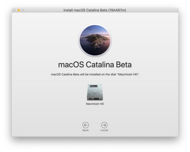 Select the disk to install MacOS Catalina on