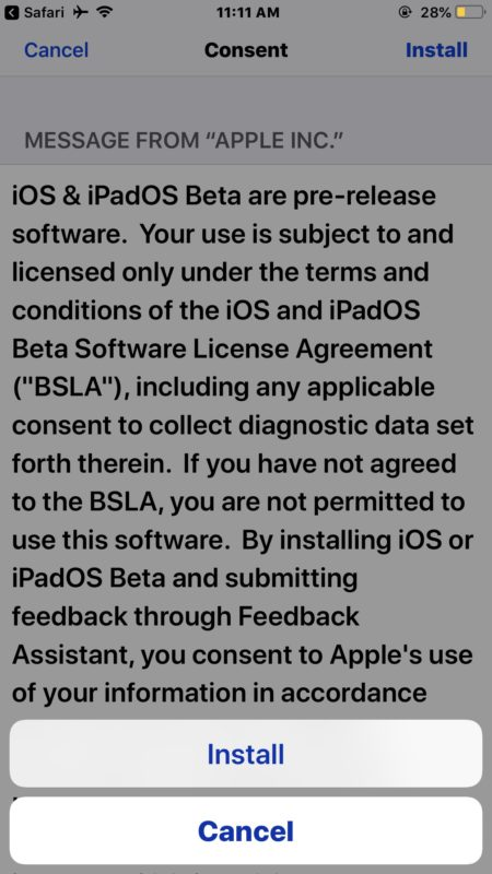 Agree to the terms of iOS 13 beta for installing a profile