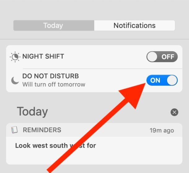 How to enable Do Not Disturb from Mac Notification Center