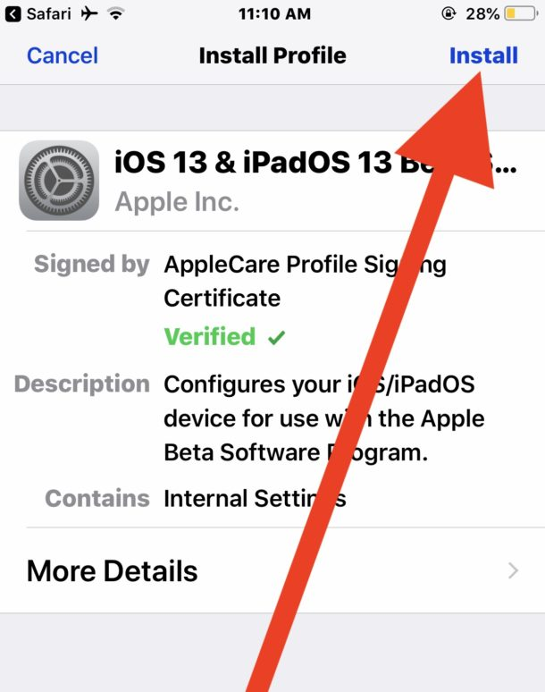 Install iOS 13 public beta configuration profile