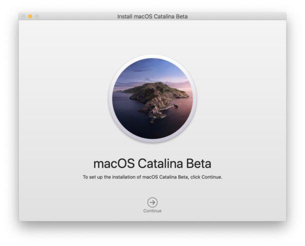 Install MacOS Catalina Beta screen