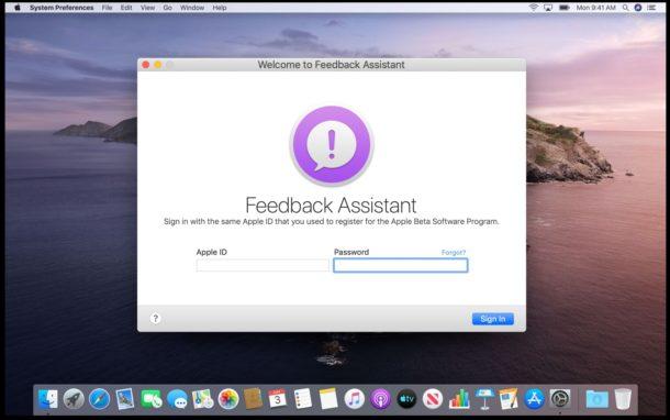 MacOS Catalina Feedback Assistant