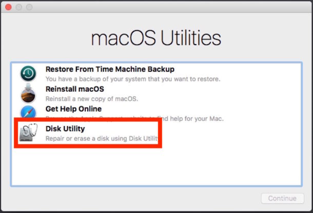 MacOS utilities choose Disk Utility.