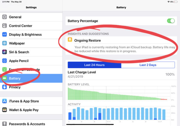Current recovery drains battery on iPad