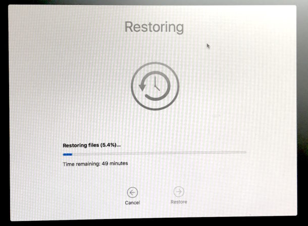 Recovery from Time Machine in the process of downgrading